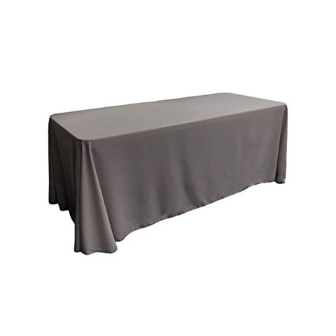 La Linen Polyester Poplin Rectangular Tablecloth, 90 By 156-Inch, Charcoal