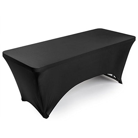 Lann'S Linens Fitted Rectangular Spandex Tablecloth - 6 Ft. Black