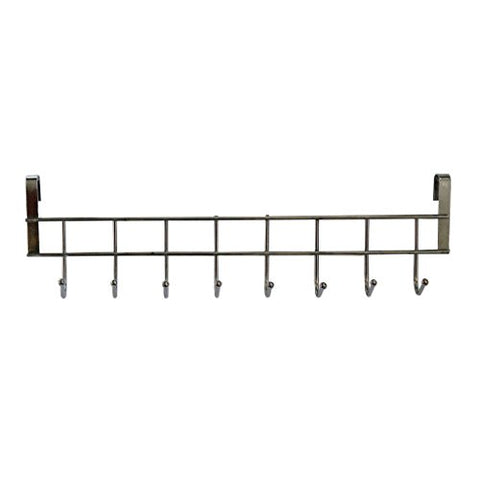8 Double Hook Over The Door Hanger By Kurtzy - Stainless Steel Organizer Rack For Coat, Towel, Bag, Hat Or Robe - Polished Silver Chrome Finish - No Mounting Or Fixings Required.