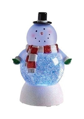 Snowman Swirl Dome Snowglobe With Color Changing Led Light