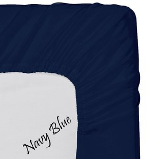 500-Thread-Count Egyptian Cotton Super Soft Extra Deep Pocket Fitted Sheet/Bottom Sheet California King/ Western King Solid Navy Blue Fit Up To 21  Inches Deep Pocket By Lavish Linens