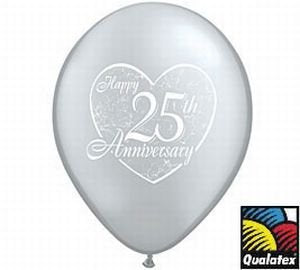 Happy 25Th Anniversary Qualatex Latex Balloons, 11-Inch 25 Per Pack