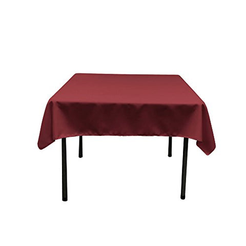 La Linen Polyester Poplin Square Tablecloth, 52 By 52-Inch, Cranberry