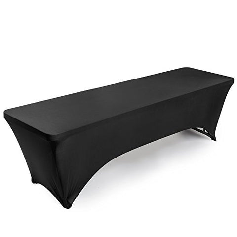 Lann'S Linens Fitted Rectangular Spandex Tablecloth - 8 Ft. Black