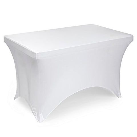 Lann'S Linens Fitted Rectangular Spandex Tablecloth - 4 Ft. X 2 Ft. White