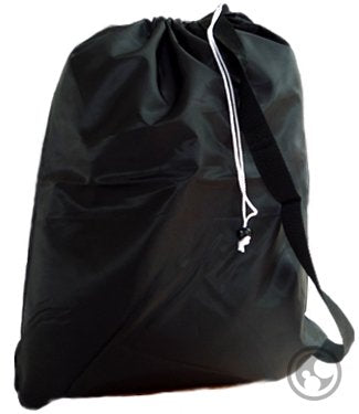 Small Laundry Bag With Drawstring, Carry Strap, Locking Closure, Color: Black, Size: 22X28