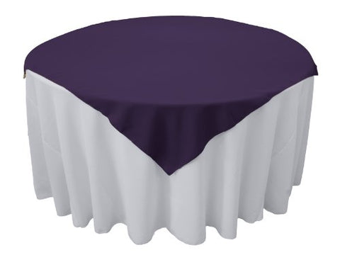 La Linen Polyester Poplin Tablecloth, 58 By 58-Inch, Purple