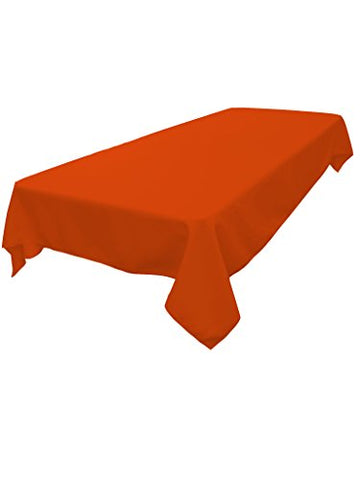 La Linen Polyester Poplin Rectangular Tablecloth, Orange, 60 X 84