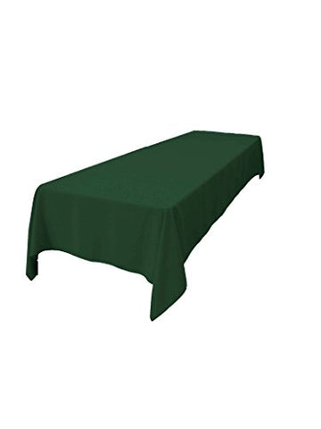 La Linen Polyester Poplin 60 By 108 Rectangular Tablecloth, Green Hunter