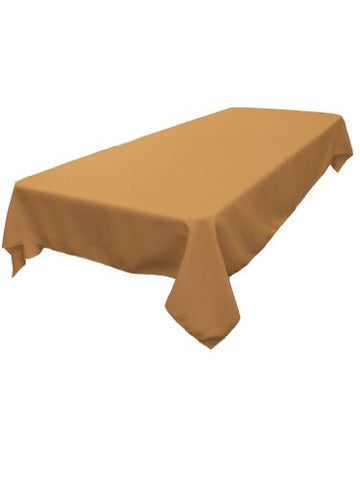 La Linen Polyester Poplin Rectangular Tablecloth, Taupe, 60 X 84