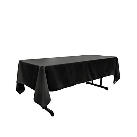 La Linen Polyester Poplin Rectangular Tablecloth, 60 By 120-Inch, Black