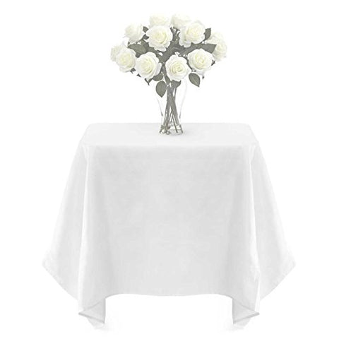Lann'S Linens - 20 Pcs 54 In. Premium Weight Square Seamless Tablecloths - For Wedding Or Party Use - White