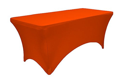 La Linen Spandex Table Cloth For A 6-Feet Rectangular Table, 72 By 30 By 30-Inch, Orange