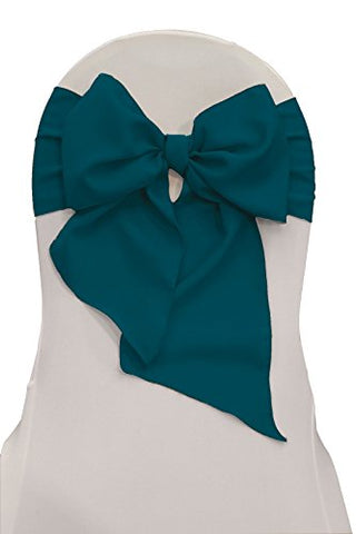 La Linen Polyester Poplin Chair Bow Sashes, 7 By 108-Inch, Dark Teal,