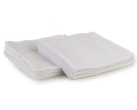 Yourtablecloth Cloth Dinner Napkins100% Spun Polyester With Hemmed Edges 20X 20Set Of 12 (White)