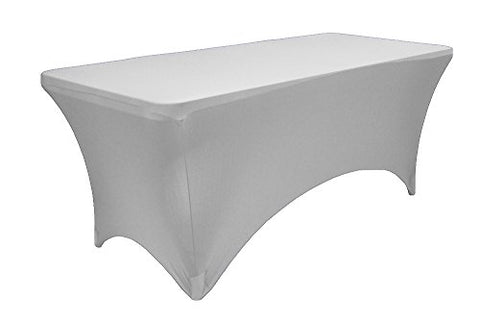 La Linen Spandex Table Cloth For A 6-Feet Rectangular Table, 72 By 30 By 30-Inch, Light Gray