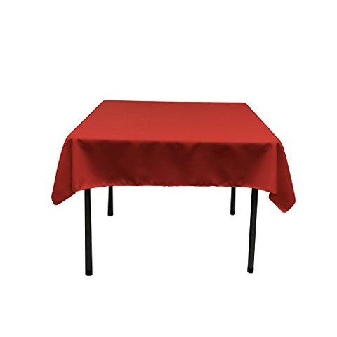 La Linen Polyester Poplin Square Tablecloth, 58 By 58-Inch, Christmas Red