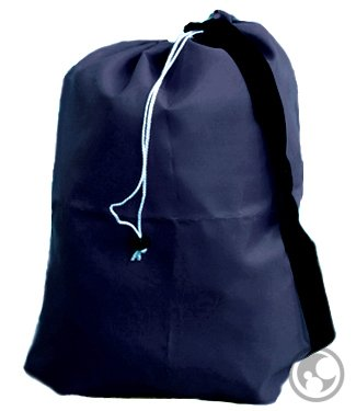 Medium Laundry Bag With Drawstring, Shoulder Strap, Locking Closure, Color: Navy Blue, Size: 24X36