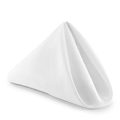 Lann'S Linens - 1 Dozen 17 In. Cloth Dinner Napkins W/ Hemmed Edges - White