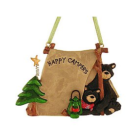 1 X Flatback Happy Campers Two Black Bears In Tent Ornament - Christmas Ornament