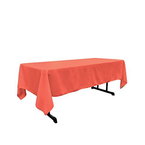 La Linen Polyester Poplin Rectangular Tablecloth, 60 By 120-Inch, Coral
