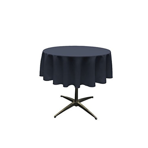 La Linen 58-Inch Round Polyester Poplin Table Overlay / / Navy Blue