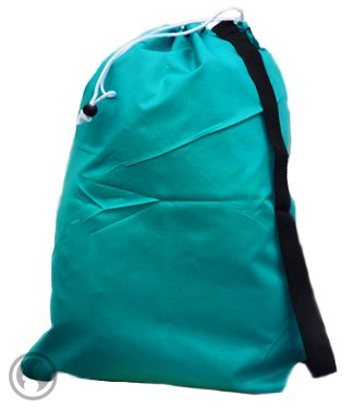 Small Laundry Bag With Drawstring, Carry Strap, Locking Closure, Color: Teal, Size: 22X28