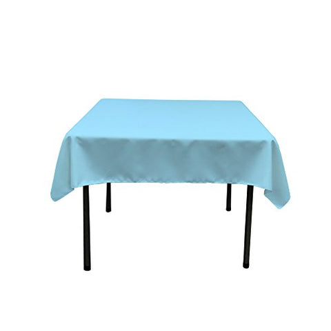 La Linen Polyester Poplin Square Tablecloth, 52 By 52-Inch, Light Turquoise