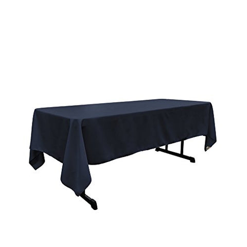 La Linen Polyester Poplin Rectangular Tablecloth, 60 By 120-Inch, Navy