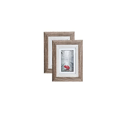 Distressed Gray Wood Picture Frame 4X6 (2 Pc) Display With Photo Glass Front, Easel Back, And Wall Hang Clip | 2 Piece Set (Ash)