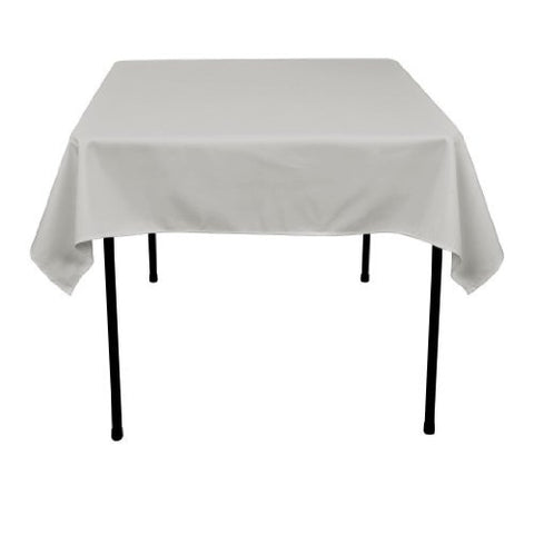 Linentablecloth 54-Inch Square Polyester Tablecloth Silver