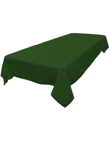 La Linen Polyester Poplin Rectangular Tablecloth, Emerald Green, 60 X 84