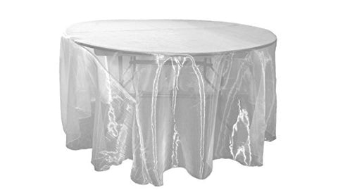 La Linen Sheer Mirror Organza Round Tablecloth, 120, White