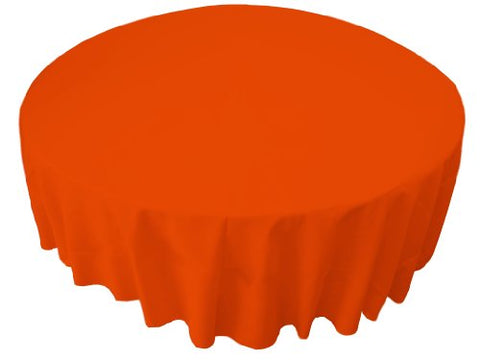 La Linen Polyester Poplin 72 Round Tablecloth, Orange