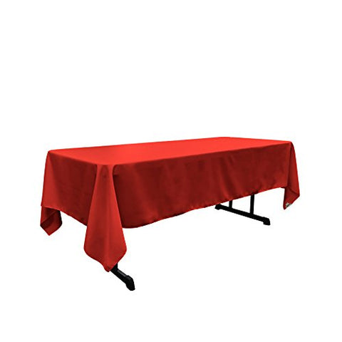 La Linen Polyester Poplin Rectangular Tablecloth, 60 By 120-Inch, Red