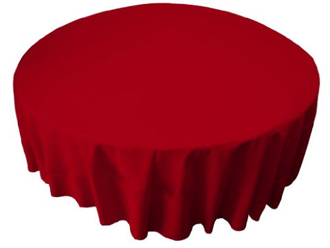 La Linen Polyester Poplin 72 Round Tablecloth, Red