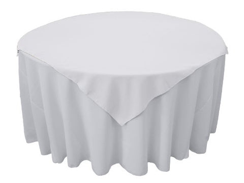 La Linen Polyester Poplin Tablecloth, 58 By 58-Inch, White