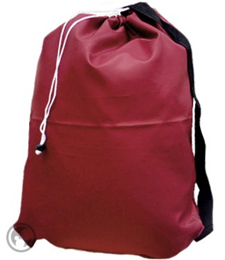 Small Laundry Bag With Drawstring, Carry Strap, Locking Closure, Color: Burgundy, Size: 22X28