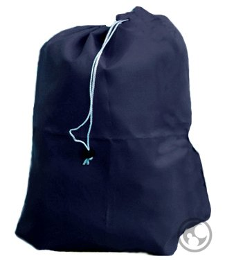 Medium Navy Blue Laundry Bag With Drawstring, Grommets, Size: 24X36