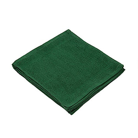 Linteum Textile 100% Soft Cotton Washcloths Face Towels 12X12 In. Hunter Green