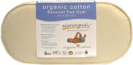 Naturepedic Organic Cotton Bassinet Oval Replacement Mattress