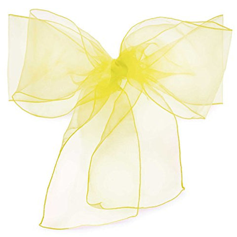 Lann'S Linens Organza Chair Sashes / Bows - For Wedding Or Banquet - Yellow - 10Pcs