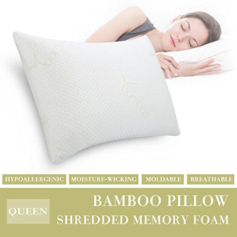 Langria Shredded Memory Foam Pillow Firm For Optimal Orthopedic Support, Removable Washable Bamboo Cover Hypoallergenic Anti-Bacterial Certipur-Us Certification,Queen Size