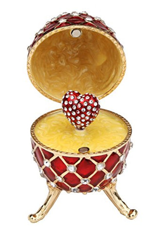 Red Faberge Style Egg Music Box - Pewter Figurine, Music Box, Swarovski Crystalslimited Edition Collectible