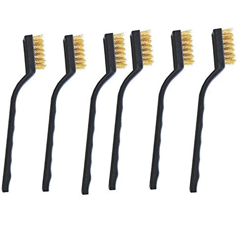 6 Pieces Wire Brush,Brass Brushes,For Cleaning Welding Slag And Rust.Paint Stains