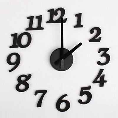 Diy Design Art Foam Sponge Digit Wall Clock (Black)