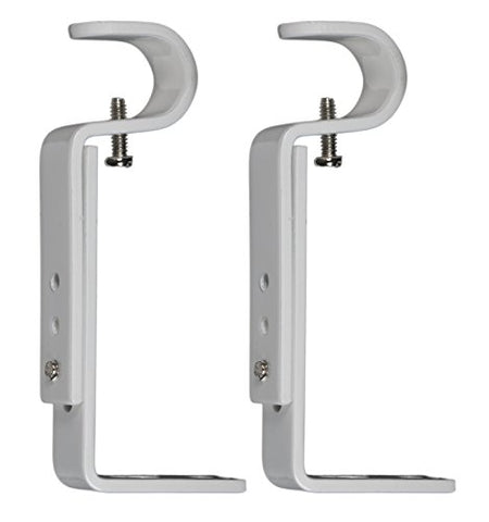 Urbanest Set Of 2 Curtain Rod Bracket, Adjustable, Fits 3/4  Diameter Rods, Glossy White