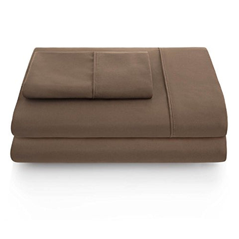 Linenspa Ultra Soft, Wrinkle Resistant Double Brushed Microfiber Sheet Set - Deep Pocket Design - Split Queen, Brown
