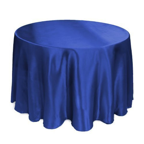 Linentablecloth 108-Inch Round Satin Tablecloth Royal Blue