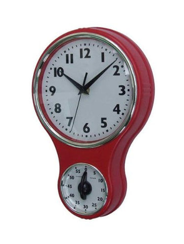 Lily'S Home Retro Kitchen Timer Wall Clock, Bell Shape Red. (Red)